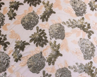 Vintage Inspired Dusty Pink Malt Floral Blossom Embroidered Stretch Sequins Fabric - 1 yard Style 2304