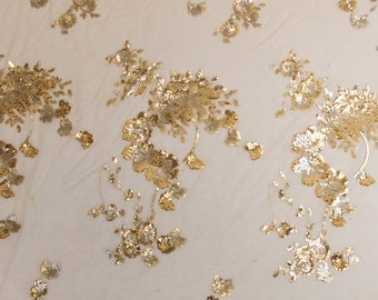 Ivory Gold Floral Scallop Sequins Fabric - 1 yard Style 2305