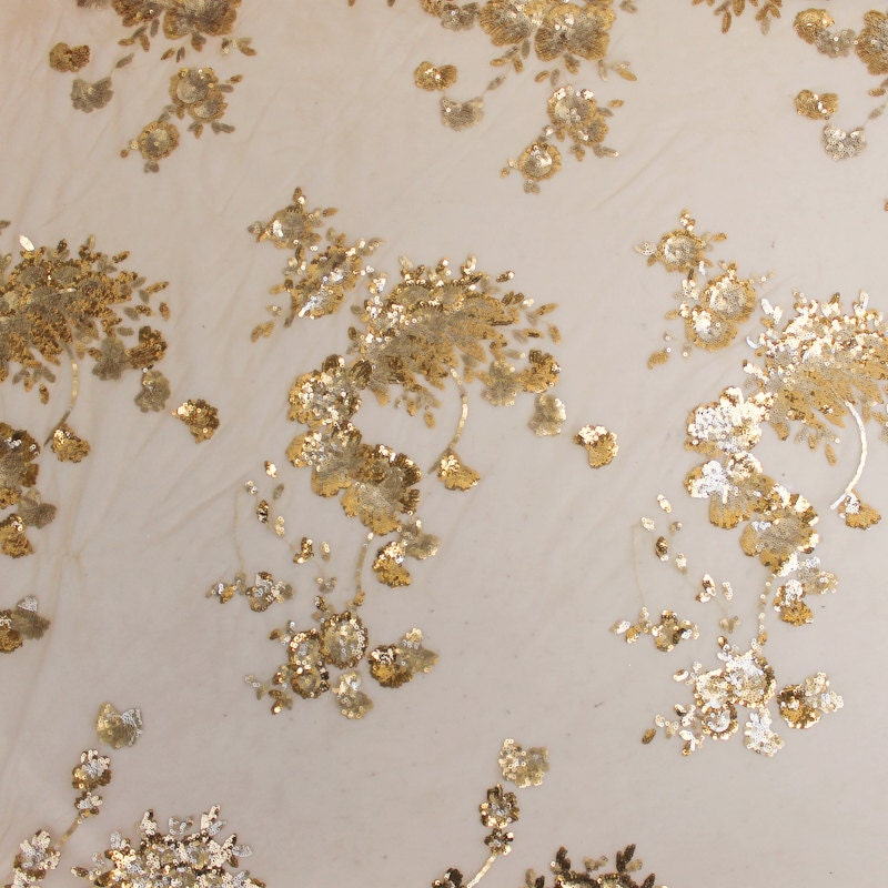 Ivory gold floral scallop sequins fabric 1 yard style 2305 for Sequin fabric