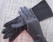 Womans Vintage Black Cotton Gloves - Gauntlet Length or Mid Arm Length - Unique Diagonal Design Pattern - Mad Men