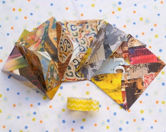 "Mini envelopes. Handcut from repurposed magazine paper. Set of 5, each 6, 5 x 8, 5 cm. (2 4/8 x 3 3/8""). OOAK. Tiny gift. Ecofriendly."