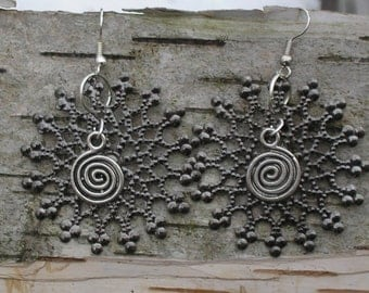 Filigree Mandala metalwork Earrings with spiral charm