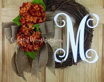 Fall wreaths - harvest Wreath - Hydrangea wreath - Grapevine wreath - Wreaths - thanksgiving wreaths