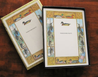 Antioch bookplates with ducks and water fowl. 27 self-stick plates. Father's Day. Ex libris