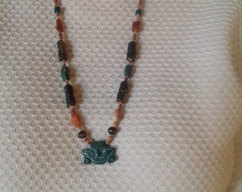 Beaded and Carved Tribal Necklace