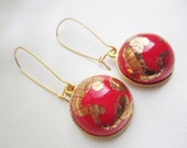 Hot Red Planet Handmade Porcelain Earrings OOAK Tomato Red Artisan Porcelain with Crackle Gold and Long Gold Plated Kidney Ear Wires