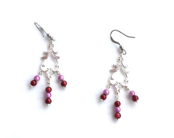 Red and pink Japanese miracle bead chandelier earrings