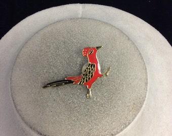 Vintage Red & Black Enameled Bird Pin