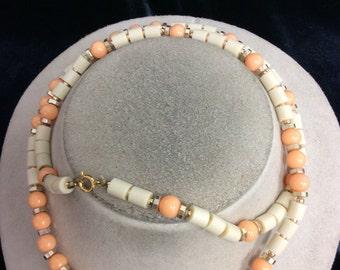 Vintage Chunky Tan & Peach Beaded Necklace