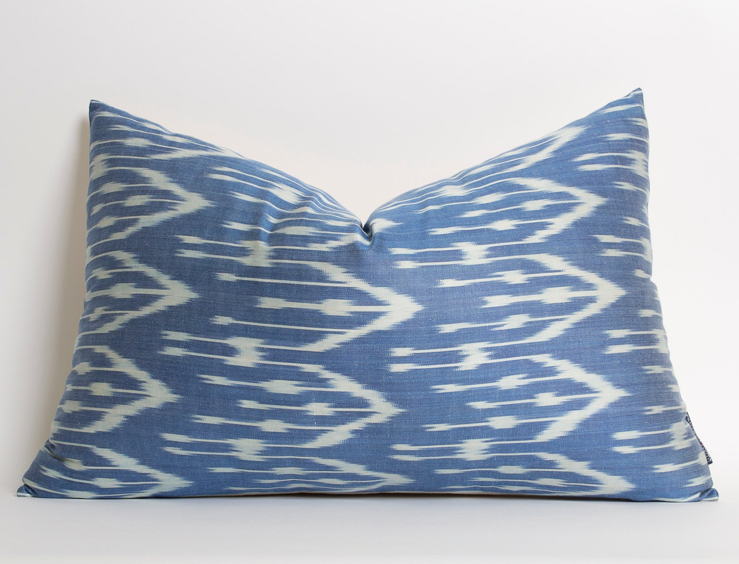 Navy Blue Silk Ikat Pillow Cover Handwoven Decorative Pillows