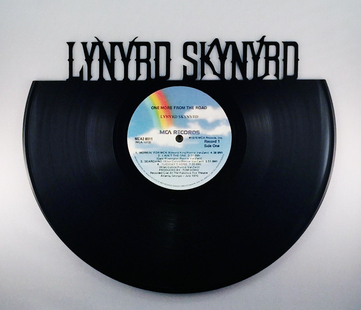 Recycled vinyl record lynyrd skynyrd wall art for Vinyl record wall art