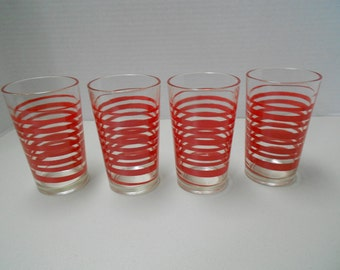 Red Twist Tumblers Drinking Glasses - Set of 4