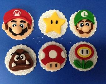 Super Mario Bros fondant cupcake toppers