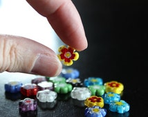 20 millefiori glass beads,10-12 mm x 4 mm, hole 1 mm, flat flower beads, mixed colors and designs