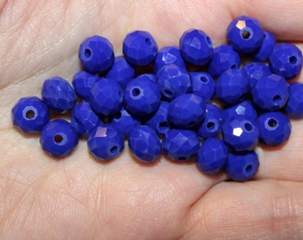 35 glass beads, solid color crystal glass abacus beads, faceted, opaque royal blue, 8 mm x 6 mm, hole 1 mm