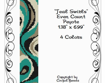 Peyote Bracelet Pattern, Swirl Design using Miyuki 11/0 Delica beads