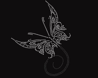 Butterfly 88 Rhinestone Iron on Transfer                                     0540-N