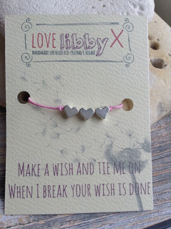 Wish bracelet with heart charms on pink cord. Friendship bracelet, perfect gift, wedding, bridesmaid, hen party, favours. Buy 4 get 1 free.