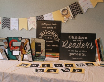Book themed baby shower decorations