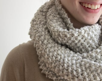 White and Grey Twist Cowl Scarf