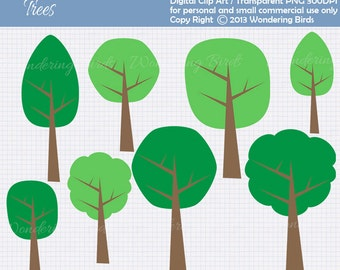 Tree Clipart For Personal and Commercial Use - Digital Clip Art  - Instant Download - Tree clip art - clip art - Tree Shape clip art