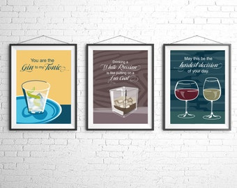 Cocktail Art - Wall Art Illustration - Cocktail Illustration - Bar Decor - Bar Art - Cocktail Print - Retro Food and Drink Poster