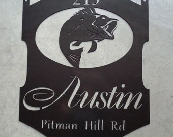 Personalized 3ft. metal sign with wide mouth bass fish