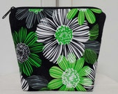 Floral Zipper Pouch, Green Flowers Zipper Case, Green Flower Cosmetic Bag, Medication Pouch, Heavy Padding, Heavy Nylon Lining, Gadget Bag.