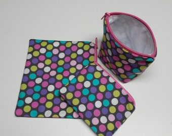 Reusable Sandwich Bag Set, Polka Dots, Gadget Bags, Make-Up Bags, Snack Bags, Washable, Nylon Lining, Zipper Closure.