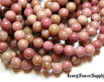 1 Strand 8mm Rhodonite Beads, Gemstone Beads, Pink Beads, Natural Stone Beads, Semi Precious Beads,