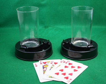 Vintage pair of unique bar room  drink glass, coaster and ashtray combo. ca 1940 Breweriana