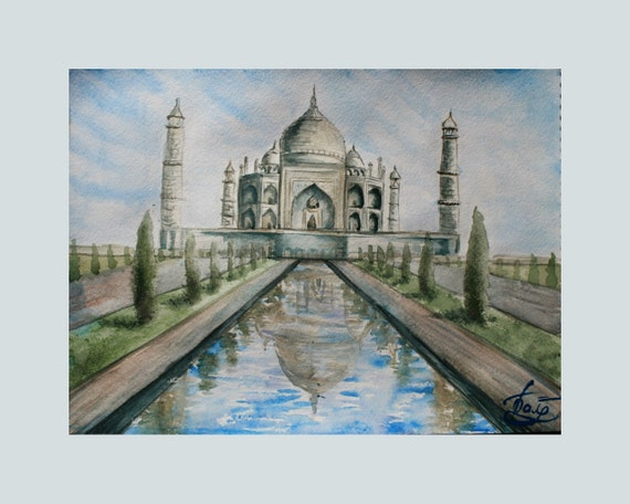 Items similar to Watercolor Painting Taj Mahal, Agra ...
