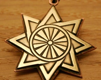 Star, Octagram, Brass and Copper pendant , handmade metal jewelry