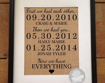 First we had each other, then we had you, now we have everything | Important Dates Burlap Print | Christmas Gift for Mom | ARTWORK ONLY