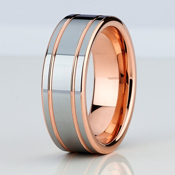 8mm rose gold tungsten mens wedding bandtungsten by chriskdesigns. Black Bedroom Furniture Sets. Home Design Ideas