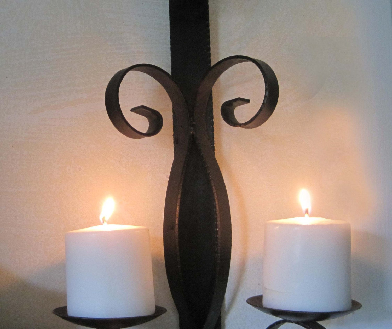 Wrought Iron Candle Holder Wall Sconce Black Medieval