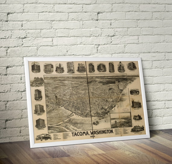 Tacoma Washington Map Antique US Map Tacoma Print Tacoma - Us tacoma map
