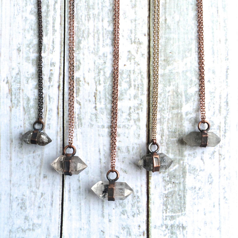raw quartz crystal necklace electroformed crystal necklace. Black Bedroom Furniture Sets. Home Design Ideas