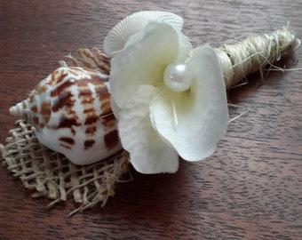 Beach Boutonniere, Nautical Boutonniere, Shell Boutonniere, Seashell Boutonniere, Nautical Wedding
