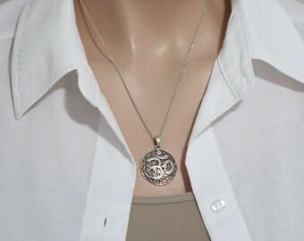 Yoga Necklace, Om Necklace, Oxidized Sterling Silver Om Neckace, Sterling Silver Om Pendant on Sterling Silver Necklace Chain