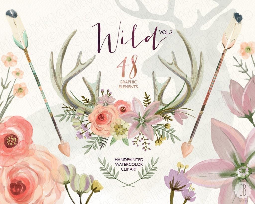 Watercolor flower antlers roses deer arrows tribal wild zoom dhlflorist Image collections
