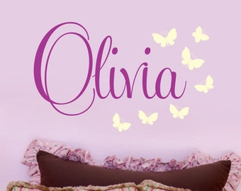 Gils Decor Wall Decal Name with Butterflies- Baby Nursery Wall Art -Girls Teen Bedroom - Personalised Childrens Wall Decals