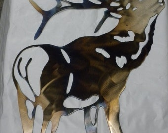 16 inch Bull Elk Metal Heat-Colored Wall Art Ornament Stencil Hunter Cabin Wildlife Deer
