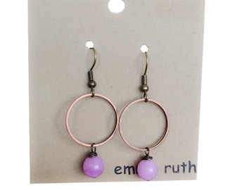 Boho Jewelry Rustic Earrings Hoop and Stone Earrings Hoops Geometric Antique Copper Earrings Rustic Boho Dangle Earrings Purple