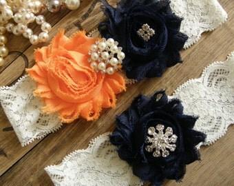 Something Blue / Wedding  Garter / Wedding Garter Belt / Navy Blue / Orange/ Vintage Inspried Lace Garter / Bridal Garter Set