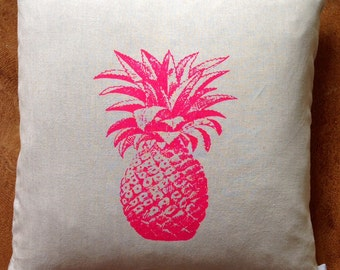 Fuchsia Pink Pineapple Pillow Cover Screen Printed onto 100% Natural Linen with Gold YKK Zipper or White Linen with Black Zipper,