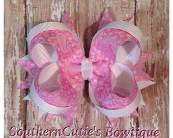 Pink Paisley Stacked Hairbow