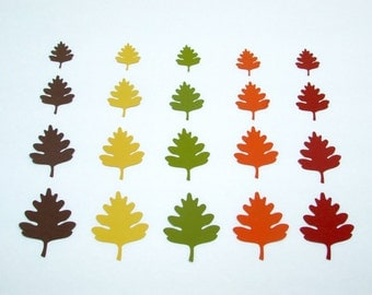 Oak leaf die cuts / Fall,Thanksgiving, Table Decor Die Cut Leaves/ 50 pc set/ fall colors