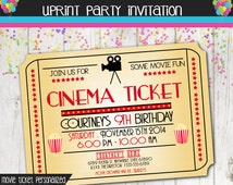 Movie Night Invitation - Movie Ticket Invitation - Cinema - Birthday - Custom Printable