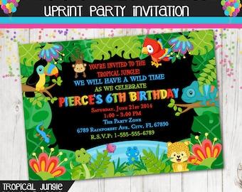 Rain forest Tropical  Jungle Invitation - Custom - Printable - Monkey - Snake - Frog - Parrot - Lizard